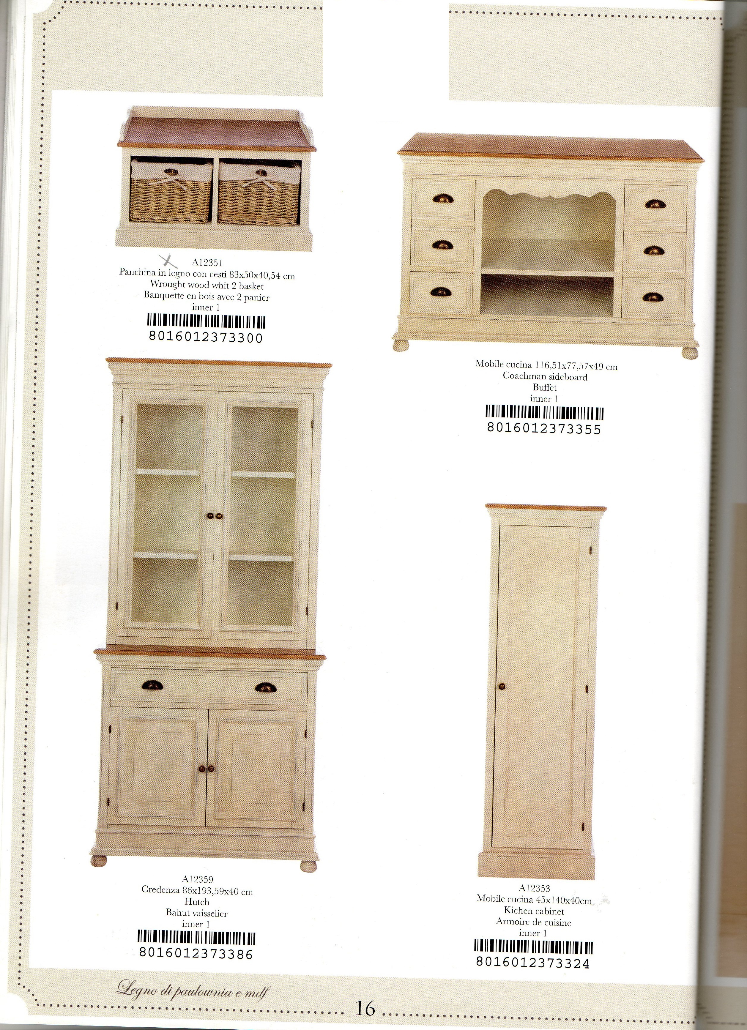 Country house store panca,mobili cucina, credenza